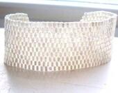 Hand Woven Wide Peyote Bracelet  in Crystal AB Silverlined SALE