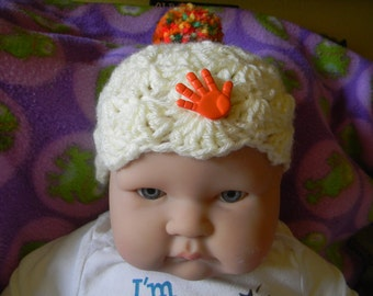 Hand Crochet baby hat boy or girl Free shipping