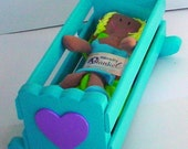 Baby Doll Cradle with Blanket in Caribbean/Aqua Blue