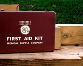 Vintage Metal First Aid Kit Box by Medical Supply Company
