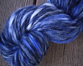 Midnight Blue Merino Tencel Mixed Handspun Yarn - 50 yards