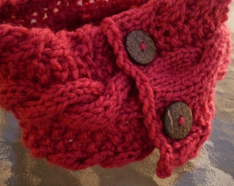 Coral Scarflette Neckwarmer Cable Knit with Wooden Buttons