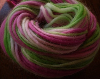 Spring Flowers Corriedale Handspun Yarn - 65 yards pink green white