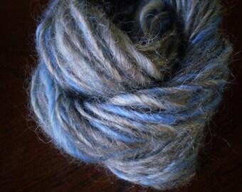 Smoky Blue Handspun Yarn- 30 yards Coopworth and Milk Fiber  Mini Skein