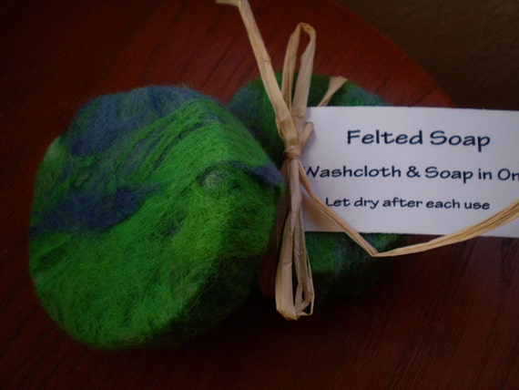 Jungle Felted Soap- Green and Blue Wool with Sage Spice Handmade Soap