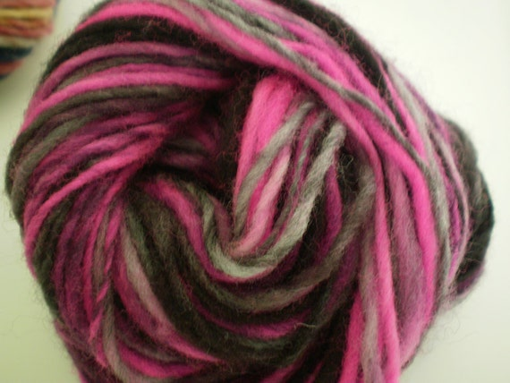 Dark Shadows 75 yards Merino Handspun Yarn Pink & Black