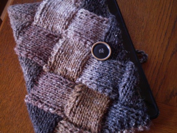 Kindle Cover Knitted Shades of Brown, Tan, & Beige Wool Silk Blend Entrelac