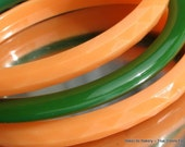 Green Vintage Bakelite Slicer Faceted Orange Bangles Plastic Peach Matching Set Antique Art Deco Deep Teal Slicer Mid Century 40s 70s