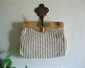 Vintage 70s crochet square stitch handbag with wood handle