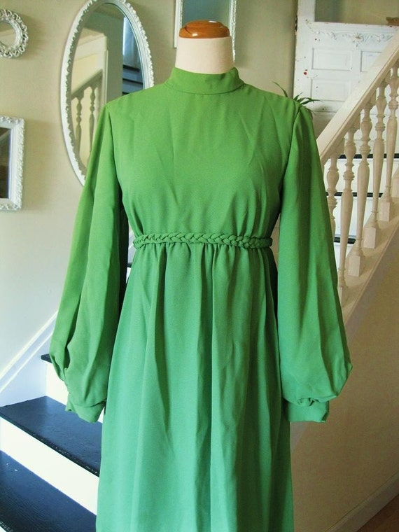 Vintage 60s festive green maxi dress(sm-med)