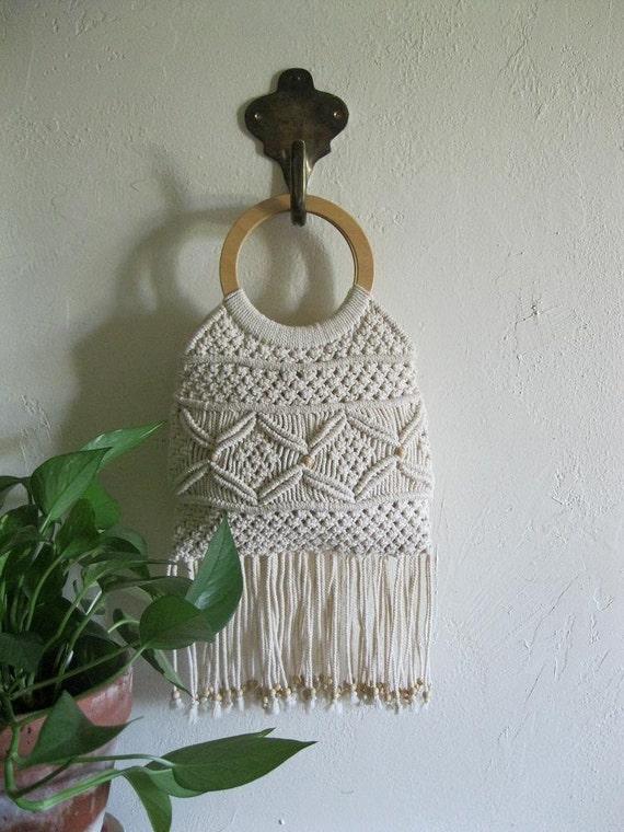 Vintage 70s macrame wood handle handbag with beaded fringe