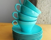 Vintage Turquoise Blue Melamine Tea Cup and Saucer Set