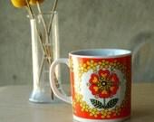 Vintage Mod Floral Mug Flowers Hearts Orange Yellow Green