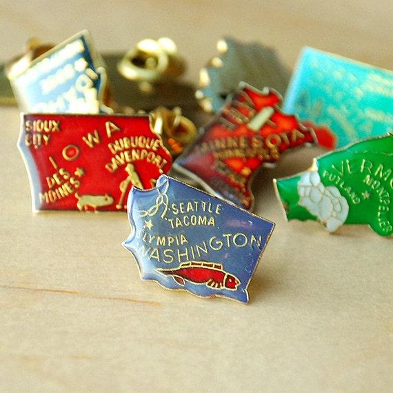 Vintage Washington Enamel Souvenir State Pin Map by Vint on Etsy.com