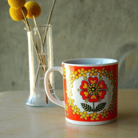 Vintage Mod Floral Mug Flowers Hearts Orange Yellow Green