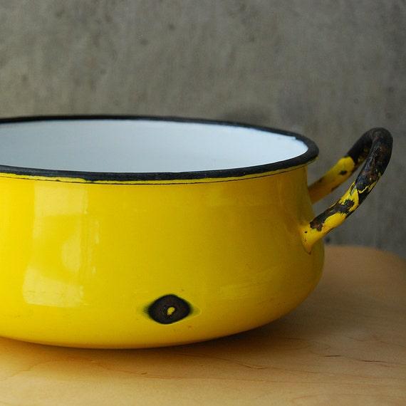 Vintage Yellow Enamel Stock Pot Pan Japan White Yellow Black Enamelware