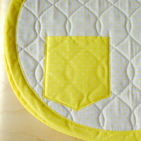 Vintage Quilted Placemats in Yellow and White Polka Dots - With Pockets