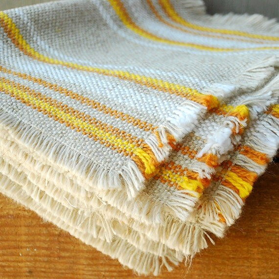 Retro Woven Placemats - Neutrals with Yellow and Orange - Set of 6
