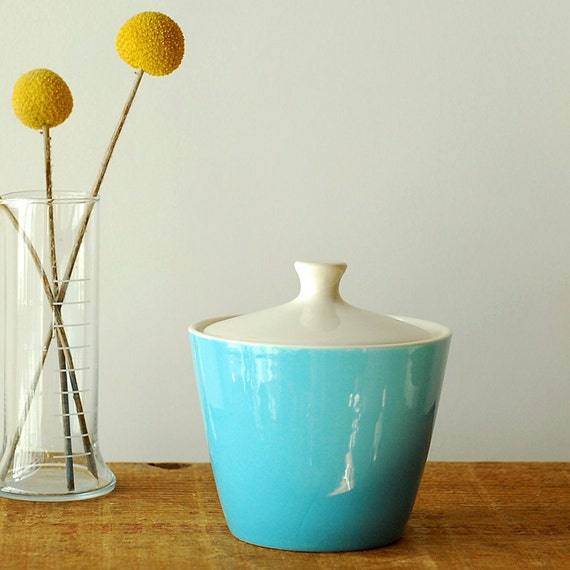 Robin's Egg Blue Ceramic Sugar Bowl Dish