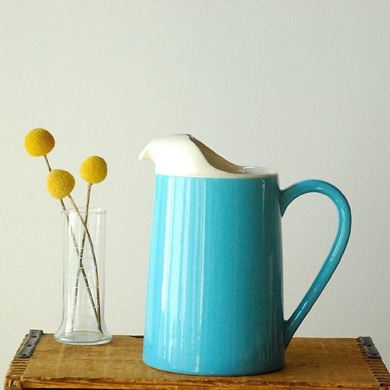 Robin's Egg Blue Ceramic Pitcher - Water - Juice - Summer