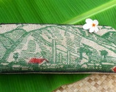 MTO. Custom. Maui Burlap Clutch. Repurposed Mauigrown Coffee Bag. Handmade in Hawaii.