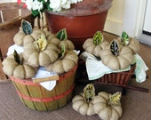 Reserved for Mrs. SewSisterz. Ten Upcycled and Eco Friendly Burlap Pumpkin Pin Cushions. Handmade with Aloha in Hawaii.