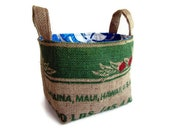 Reserved for Irene. Springtime Burlap Basket. Eco Friendly Storage, Organizer, Gift Basket. Recycled Coffee Bag.