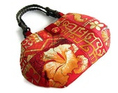 Ready To Ship. Alfred Shaheen Vintage Handprint - Tapa Tapestry. Colorful Summer Satchel. Handmade in Hawaii.