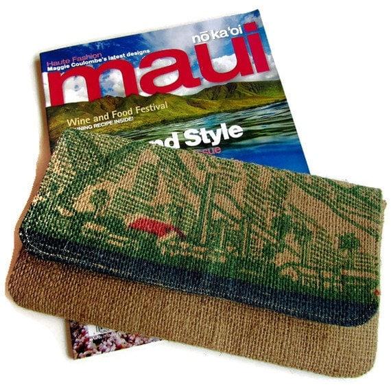 Lahaina Maui Smokestack and Mauigrown Coffee Bag Clutch. MADE TO ORDER. Handmade in Hawaii