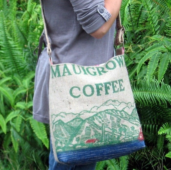 Reserved for Shelley. Burlap Cross Body or Shoulder Handbag. Repurposed USA Coffee Bag from Maui. Made To Order. Handmade in Hawaii.