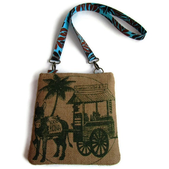 Ready To Ship.  Burlap Messenger Bag, Cross Body Bag, Sling Bag. Kona Nightingale Hawaii Donkey. Handmade in Hawaii.