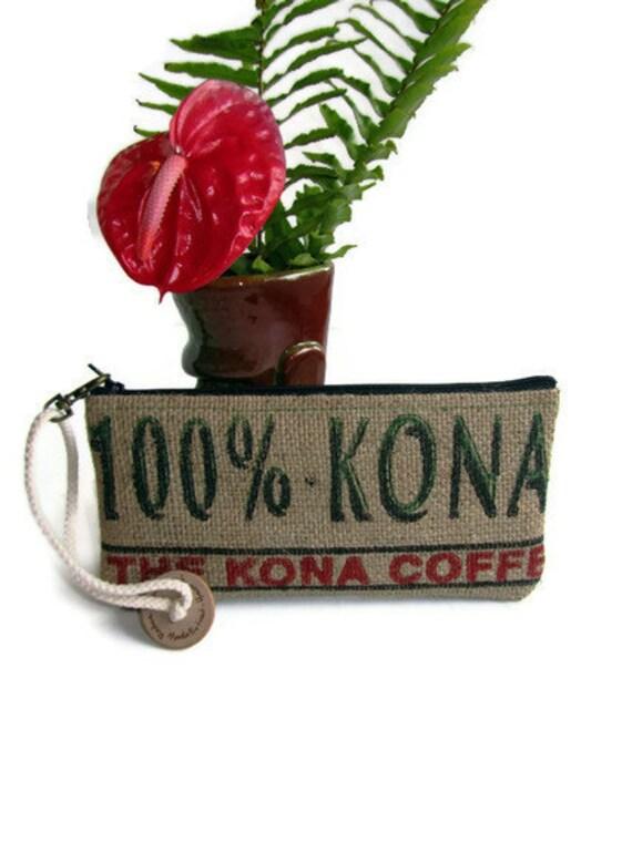 READY TO SHIP. Burlap Kona Coffee Bag. Wristlet, Pouch, Change Purse. Handmade in Hawaii.