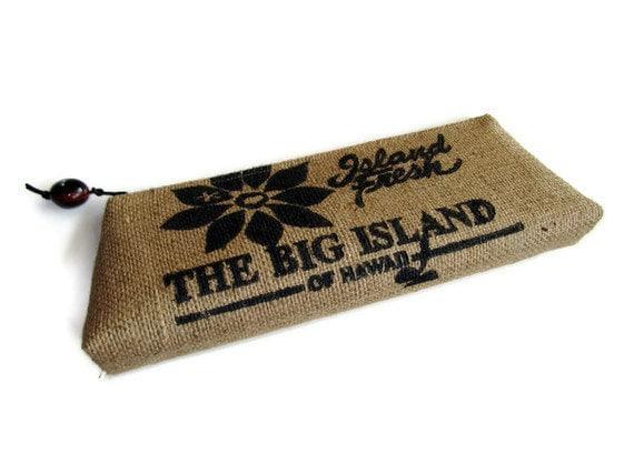 Burlap Clutch Purse and Island Fresh Kona Coffee Bag. Handmade in Hawaii. MADE TO ORDER.