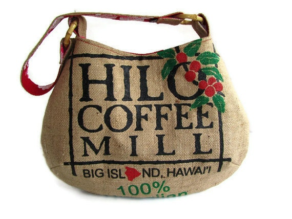 MTO. Repurposed Burlap Hilo Coffee Mill Bag. Handmade in Hawaii.
