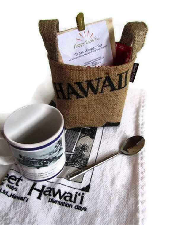 Ready to Ship. Hawaii Burlap Basket. Eco Friendly. Recycled Coffee Bag. Handmade in Hawaii.