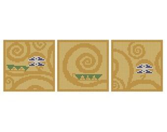 Klimt Swirl Triptych - Instant Download - Cross Stitch Pattern PDF