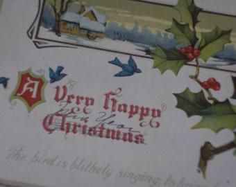1918 Christmas Postcard Holly Bluebird Winter Scene