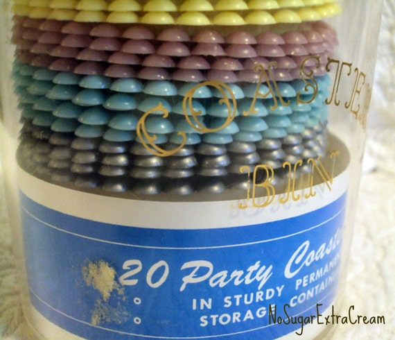 Vintage Party Coasters - 20 pc with storage bin - Retro Set of Party Coasters - Vintage