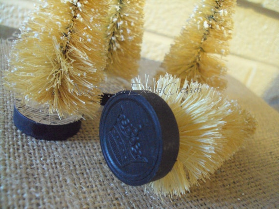 Sepia Bottle Brush Trees with Vintage Black Checkers and Christmas Hymns - 2 Trees