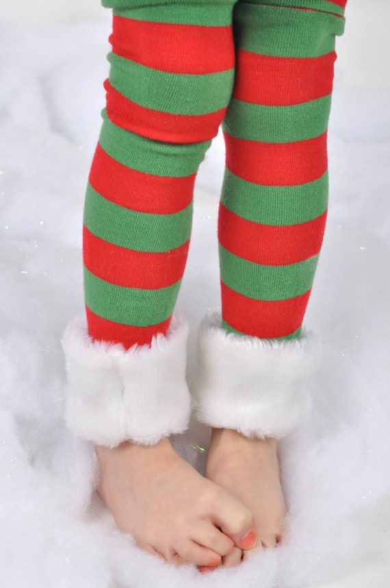 Red and Green Striped Christmas Leggings