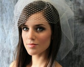 Jessica Tulle and Birdcage Net Veil - Two Layer Birdcage Veil - Vintage Pouf Veil