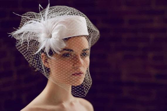Items Similar To Jocelyn Bridal Pillbox Hat With Birdcage