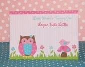 Owl Birthday Invites- Owl Bird and Toadstool Theme- Bright Colors