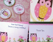 Owl, Bird, and Toadstool Birthday Party Package CUTE- Invites, Thank Yous, and Cupcake Toppers