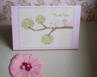 Birdy Thank You Cards- pinks, greens, browns