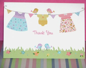 Clothesline Baby Dresses and Rainbow Birdy Thank You Cards