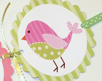 Its A Girl Baby Shower Banner- Cute Pink and Green Birds
