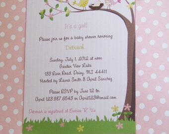 Bird Baby Shower Invitations, Bird Nest, Yellow, Pink, Pastels, Spring, PRINTED Invitations comes with envelopes