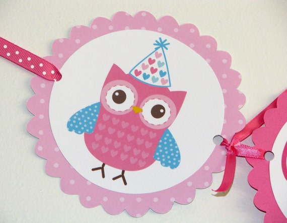 Birdy and Owl Birthday Banner Pink and Aqua
