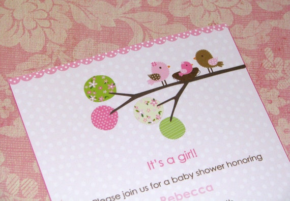 Sweet Chickadee Parents Baby Shower Invitations --Pinks and Browns